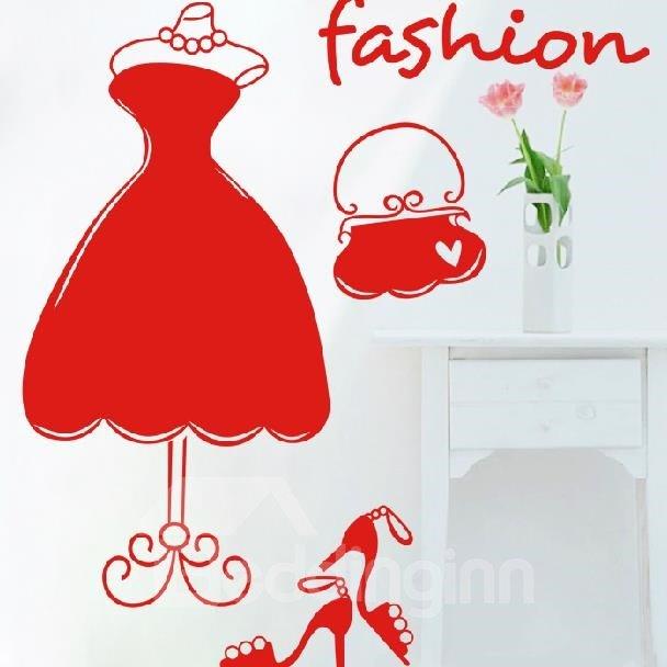 Modern Fashion Princess Dress and High Heel Print Wall Stickers