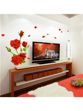 Romantic Rose Blossoms and Petals Print Decorative Wall Stickers