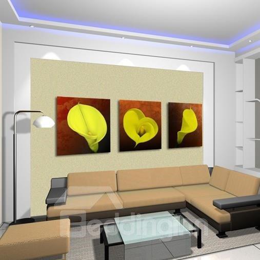 New Arrival Beautiful Yellow Calla Flowers Print 3-piece Cross Film Wall Art Prints
