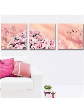 New Arrival Beautiful Pink Lilies Print 3-piece Cross Film Wall Art Prints