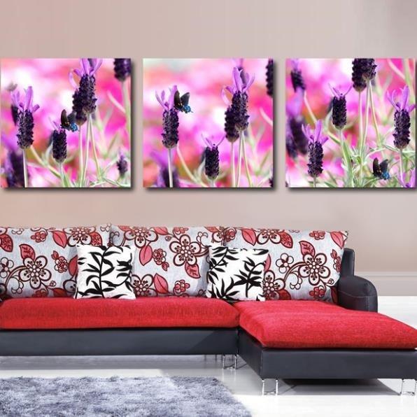 New Arrival Beautiful Dark Purple Lavenders Print 3-piece Cross Film Wall Art Prints