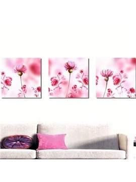 New Arrival Gorgeous Pink Flowers Painting Print 3-piece Cross Film Wall Art Prints