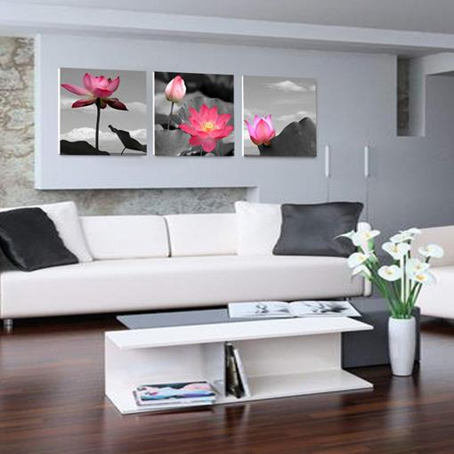 New Arrival Beautiful Pink Lotus Flowers Print 3-piece Cross Film Wall Art Prints