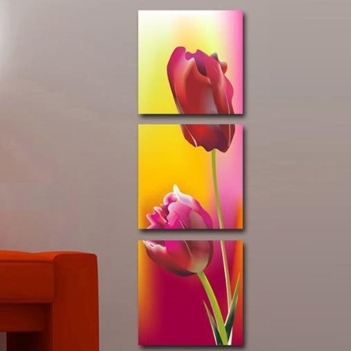 New Arrival Stunning Red Tulips Print 3-piece Cross Film Wall Art Prints