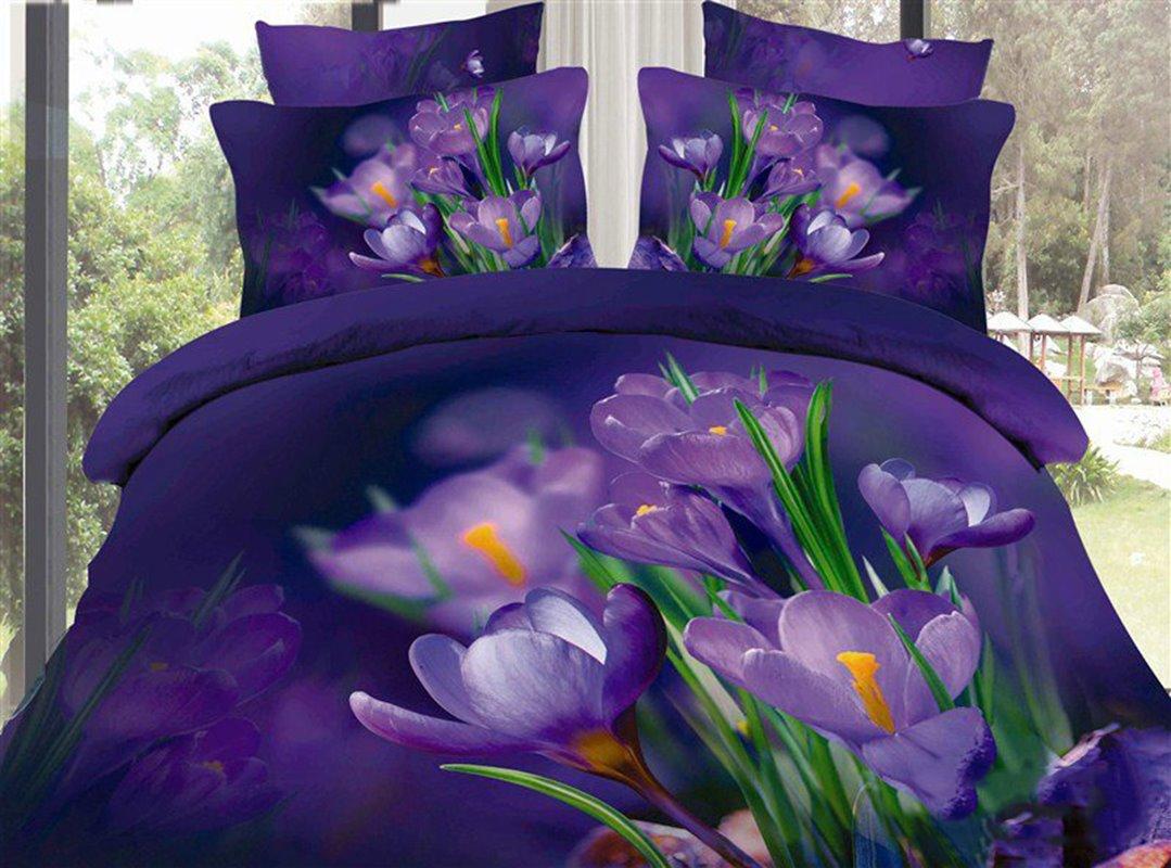 Purple Saffron and Green Leaves Print Cotton Duvet Cover Sets