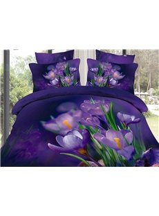 Purple Saffron and Green Leaves Print Cotton Duvet Cover Sets