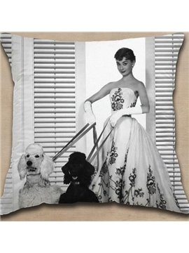New Arrival Graceful Audrey Hepburn in White Dress Holding Leashes Print Throw Pillowcase