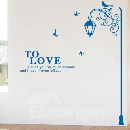 New Arrival Lovely Street Lamp on Right Side Print Wall Stickers