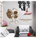 Elegant Fashion Leader Lady and Letters Print Wall Stickers