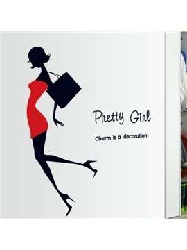 Pretty Fashion Girl in High Heels and Letters Print Wall Stickers