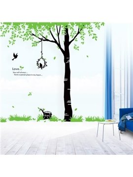 New Arrival Beautiful Green Tree and Leaves Print Wall Stickers