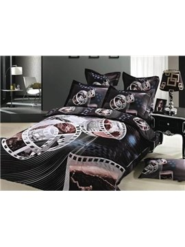New Arrival Elegant Scenery on Film Print 4 Piece Bedding Sets