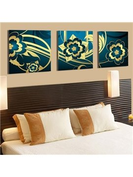 New Arrival Beautiful Golden Floral Patterns Blue Print 3-piece Cross Film Wall Art Prints
