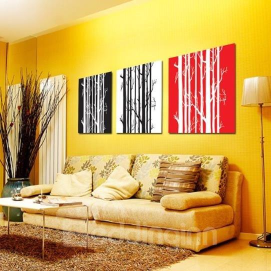 New Arrival Modern Style Elegant Tree Trunk Print 3-piece Cross Film Wall Art Prints