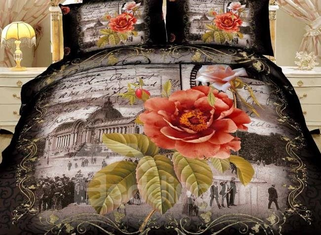 New Arrival Beautiful Orange Flower and Scenic Spot Print 4 Piece Bedding Sets