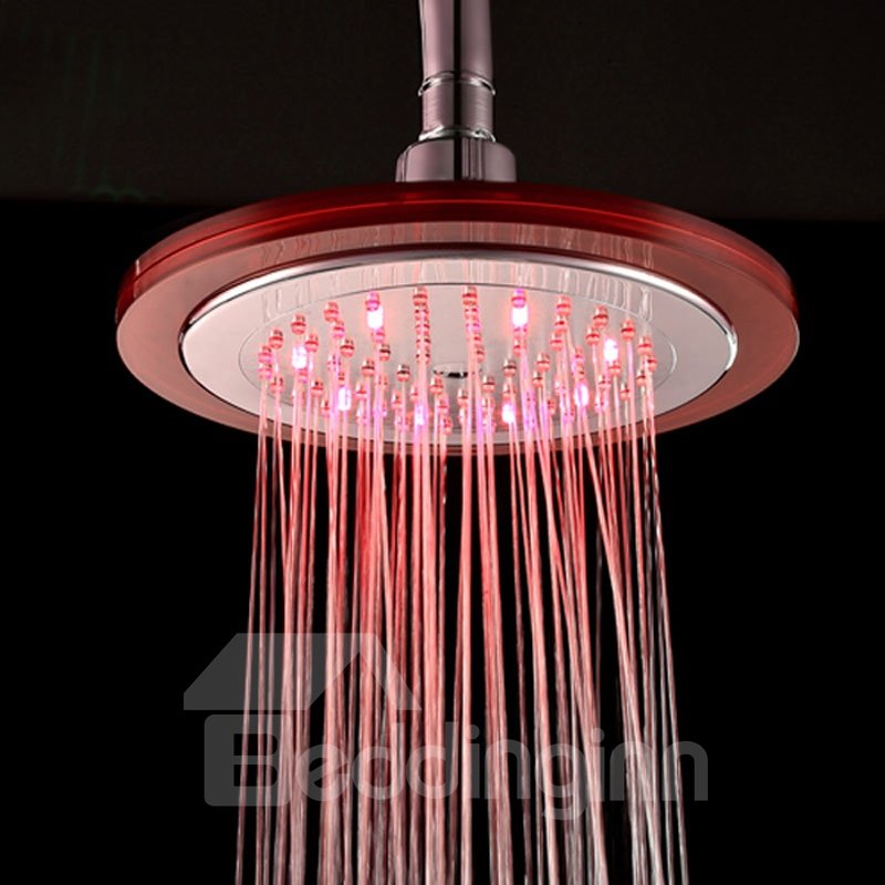 Contemporary LED Colors-changing ABS Round Shower Head Faucet