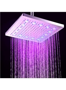 12 Inches LED Colors-changing Rectangular Copper Shower Head Faucet