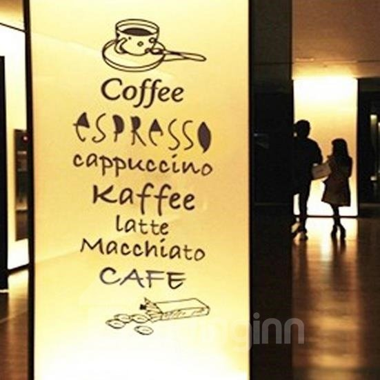 Lovely Coffee Names Print Wall Stickers