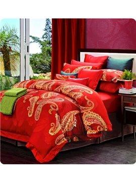 Boutique Staple Cotton Bright Red 4 Piece Duvet Cover Sets