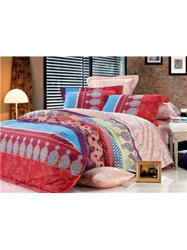 High Class Staple Cotton Colorful 4 Piece Duvet Cover Sets