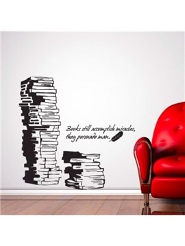 New Arrival Elegant Piles of Books and Letters Print Wall Stickers