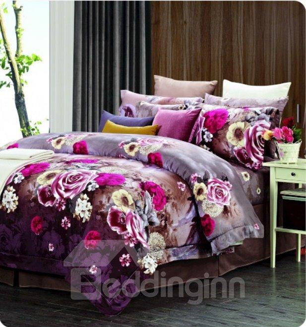 Floral Pattern with Royal Purple Background 4 Piece Staple Cotton Duvet Cover Sets