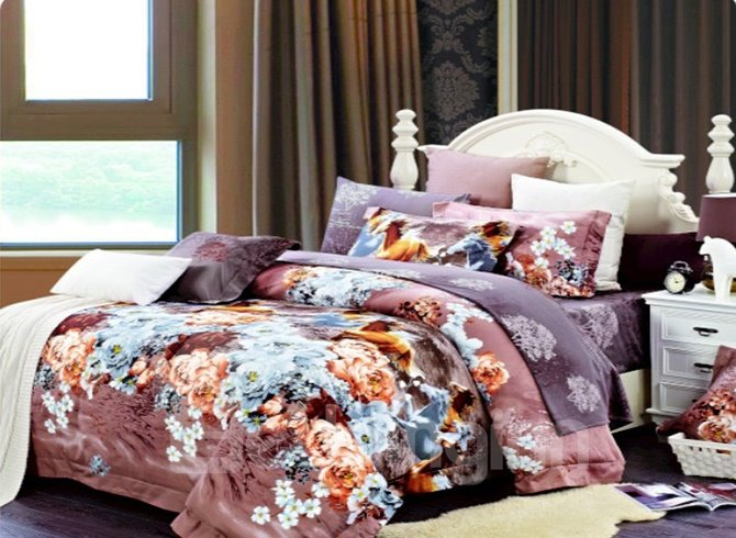 Gorgeous Galloping Horses in Flowers 4 Piece Cotton Bedding Sets