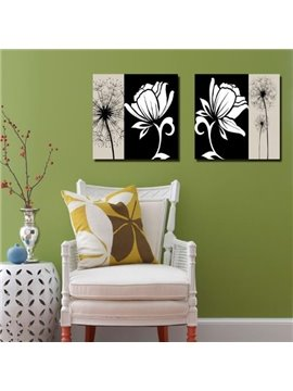 New Arrival Beautiful Black Dandelion and White Flower Print 2-piece Cross Film Wall Art Prints