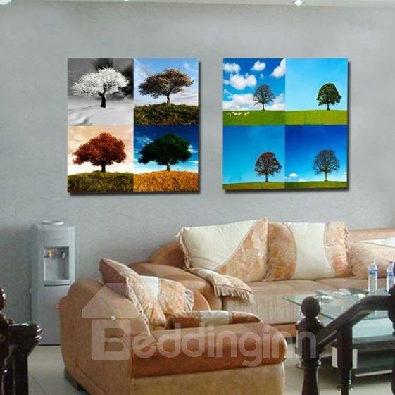 New Arrival Beautiful Trees and Sky Print 2-piece Cross Film Wall Art Prints
