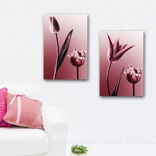 New Arrival Elegant Pink Flowers and Leaves Print 2-piece Cross Film Wall Art Prints