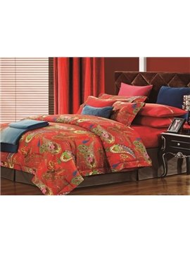 Boutique Personality Patterns Red Staple Cotton 4 Piece Bedding Sets
