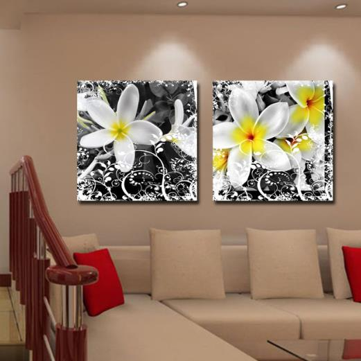 New Arrival Lovely White Flowers and Floral Patterns Print 2-piece Cross Film Wall Art Prints