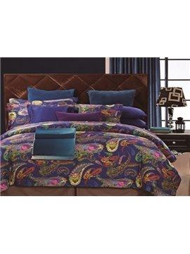 Personality Pattern Purple Staple Cotton 4 Piece Bedding Sets