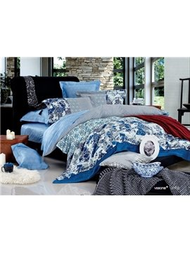 Sky Blue Geometry Pattern 4 Piece Cotton Duvet Cover Sets