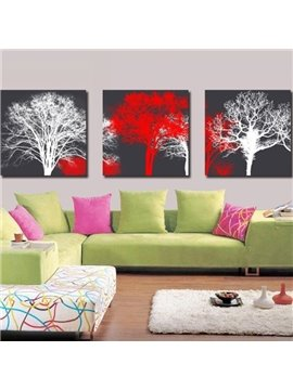 New Arrival Elegant White and Red Trees Print 3-piece Cross Film Wall Art Prints