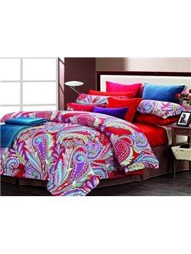 Colorful Phoenix Feathers Print 4 Piece Cotton Bedding Sets