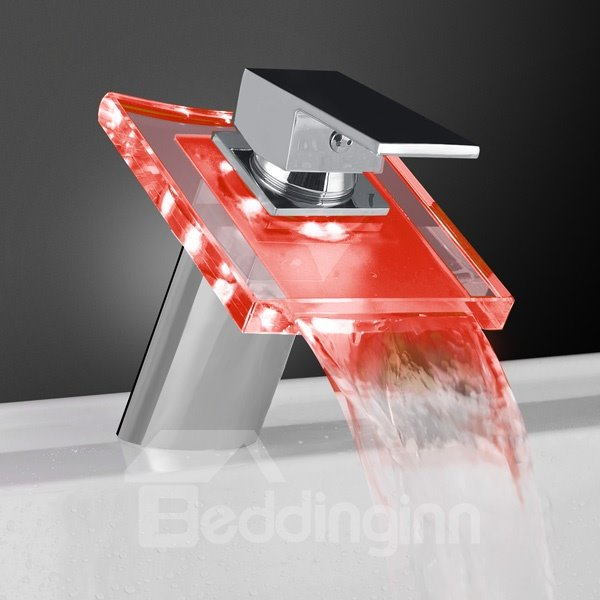 Contemporary LED Temperature Control Luminous Rectangular Handle Oblique Faucet