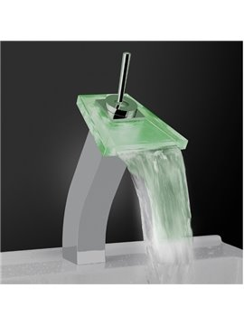 Contemporary Built-in LED Temperature Control Stick Handle Heightened Luminous Glass Faucet