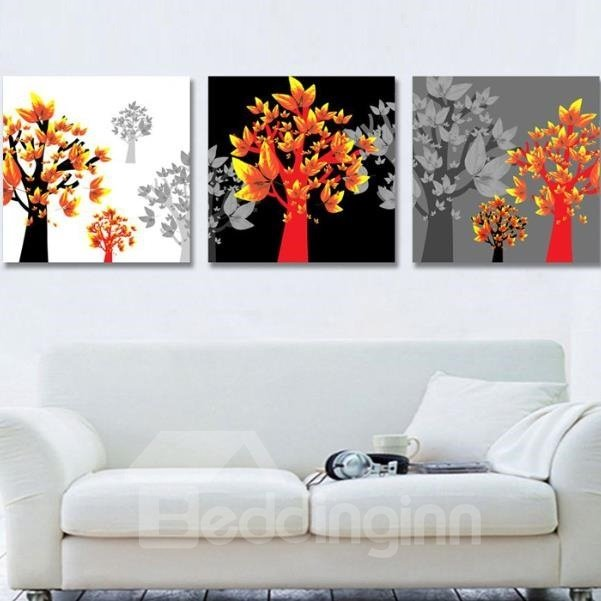 New Arrival Beautiful Black Trees and Golden Leaves Print 3-piece Cross Film Wall Art Prints