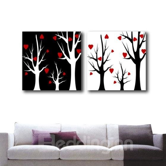 New Arrival Lovely Trees and Red Heart Leaves Print 2-piece Cross Film Wall Art Prints