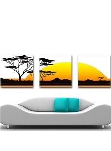 New Arrival Beautiful Tree and Sunset Print 3-piece Cross Film Wall Art Prints