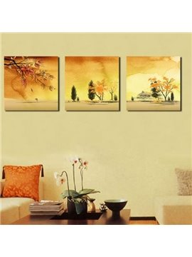 New Arrival Beautiful Golden Trees and Leaves Painting Print 3-piece Cross Film Wall Art Prints