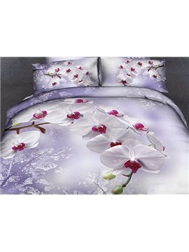 new arrival beautiful white flowers light purple print 4 piece duvet cover sets
