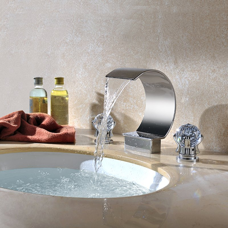 New Arrival Chrome-colored Three Piece Waterfall Faucet