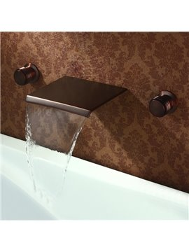 ORB Black Bronze Double Handles Widespread Waterfall Wall Mount Faucet