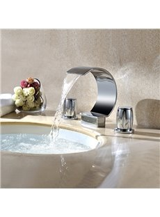 Contemporary Double Handles Widespread  Waterfall Faucet