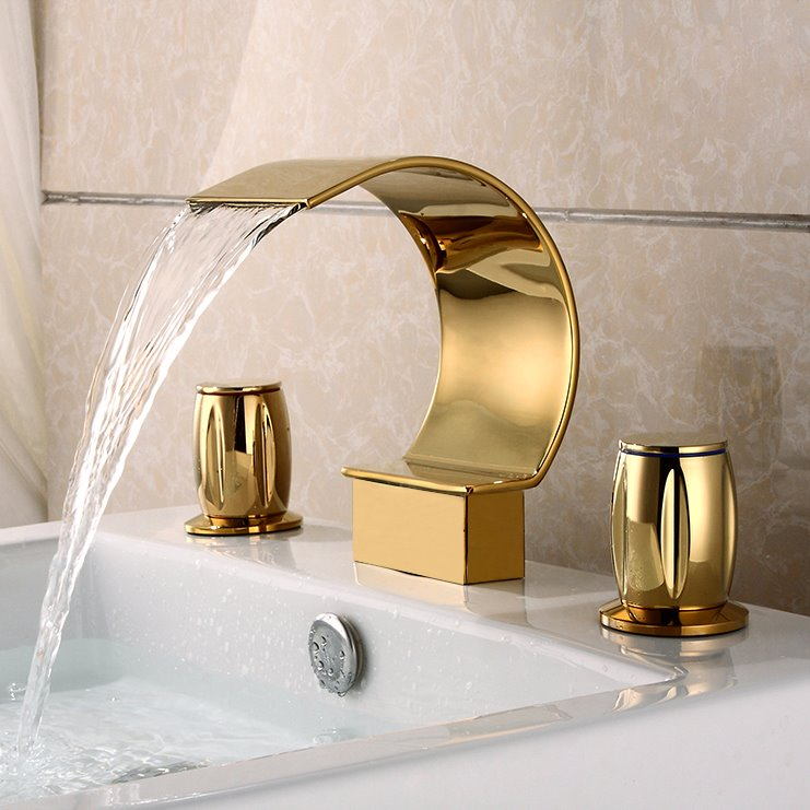 Golden Double Handles Widespread Waterfall Faucet - beddinginn.com