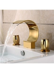Golden Double Handles Widespread  Waterfall Faucet