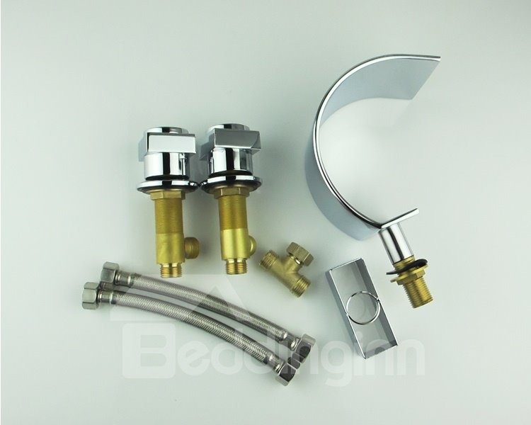Half-Moon Contemporary Double Handles Waterfall Faucet