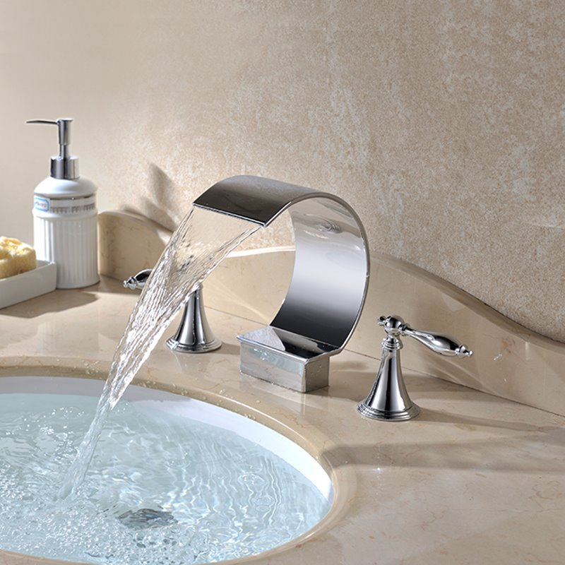 New Arrival Contemporary Double Handles Ceramic Valve Waterfall Faucet
